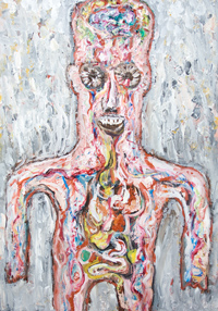 The Inside Out Anatomical Force Commander  : New colorful outsider art human abstract detailed internal organ pattern theme acrylic painting, anatomical medical human body texture pattern, abstract human figure, decorative raw art, ornamental human anatomy pattern, abstract mosaic pattern, abstract human body form, male body symbolism, art brut, contemporary expressionism, human body symbolism, acrylic painting #8445, 2009 | Kazuya Akimoto Art Museum