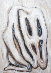 The Unwelcome Return of Another Prodigal Son : New biblical, Jesus parable, allegorical theme, distortion, distorted human face and body, monotone, full-length humorous human portrait, humorous human face expressions, literature, contemporary figurative expressionism, naive raw art expressionism, acrylic painting #8482, 2009 | Kazuya Akimoto Art Museum