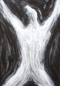 Dark Resurrection (The Birth of the Antichrist) :New, Christianity mythological theme, black and white abstract surreal expressionism, dark symbolism, religious symbolism, gospel, biblical antichrist theme, abstract human figure, abstract surrealism, biblical theme human body symbolism, black and white surrealism, acrylic surreal expressionism, acrylic painting #8617, 2009 | Kazuya Akimoto Art Museum