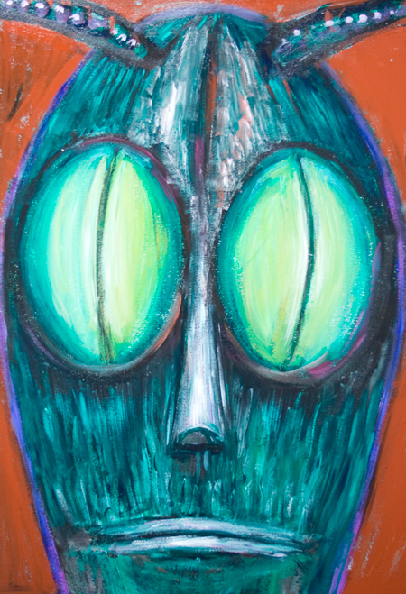 The Resolute Grasshopper :New, Japanese pop art, surreal insect head theme Japanese contemporary expressionism, personified grasshopper head painting, insect face portrait, odd, strange bug face, surreal face, mask, insect personification, animal symbolism, surreal expressionism, complementary color facial portrait, acrylic painting #8626, 2009 | Kazuya Akimoto Art Museum