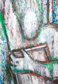 Moses holding the Ten Commandments :New old testament, biblical  theme Moses portrait painting, abstract human figure, Judaism, Christianity, Islam, contemporary pointillism pattern, religious paining #8696, 2009 | Kazuya Akimoto Art Museum