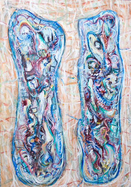A Pair of Skeleton Human Cocoons : ornamental outsider art, detailed raw art painting, abstract human internal organs , anatomical human organ pattern artwork, decorative abstract texture, abstract surrealism, abstract human analogy, abstract human metaphor, abstract outsider artwork, acrylic painting