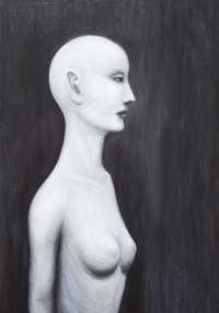Real Nefertiti : contemporary realism black and white female upper body portrait painting, female body symbolism, the historic figure, the most famous beautiful queen Nefertiti portrait, acrylic painting