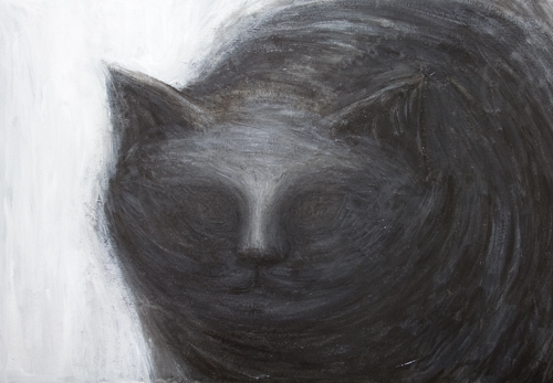 The Black Cat : American Gothic literature theme dark animal symbolism painting, ('The Black Cat' :Edgar Allan Poe), black animal, dark surrealism, black and white, abstract animal portrait, acrylic painting