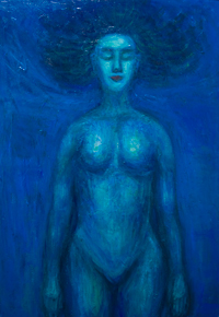 Dead Princess buried in Blue (a tribute to Maurice Ravel,'Pavane pour une infante défunte') : contemporary female body symbolism painting, classical music theme, abstract blue symbolism painting