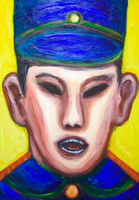 Angry Chinese Police Officer :new expressionism colorful male portrait painting, facial expression, Asian, angry human face, acrylic painting #9218, 2010 | Kazuya Akimoto Art Museum