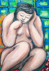 Young Mother taking a nap after nursing her child :new, naive expressionism, contemporary expressionism, female body symbolism, daily life scene, acrylic painting #9236, 2010 | Kazuya Akimoto Art Museum