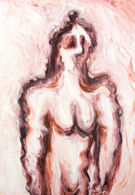 Bathsheba at her bath : contemporary monotone distorted female portrait painting, famous biblical figure, old testament adultery theme narrative, abstract human figure, acrylic painting #9361, 2010 | Kazuya Akimoto Art Museum