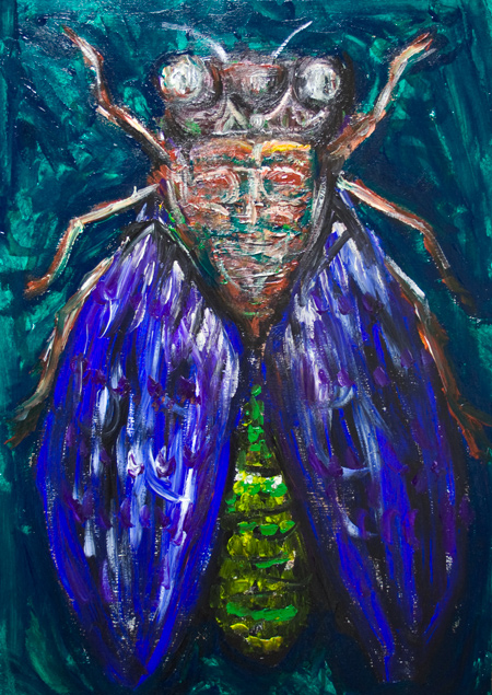 The Blue Cicada :New surreal realism insect symbolism painting, abstract bug, expressionist art, insect realism, insect texture pattern, acrylic painting #9461, 2011 | Kazuya Akimoto Art Museum