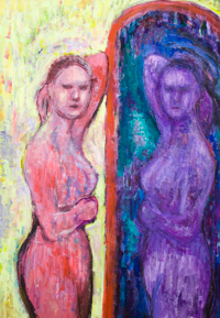 Morning Woman in the Mirror : colorful expressionism female daily life portrait painting, mirror reflected figure, figurative symmetry, colorful interior, contemporary expressionism, portrait expressionism painting #9757, 2011 | Kazuya Akimoto Art Museum