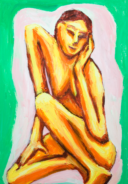 Musing Skinny Asian Woman : Asian expressionism woman portrait painting, contemplative pose, posture theme, body distortion, Asian new expressionism, female posing body, contemporary figurative painting #9782, 2011 | Kazuya Akimoto Art Museum