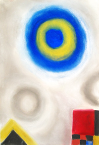 geomtric symbolism, blue-circle, red-square, yellow-triangle, color symbolism, floating, symbolic elements, hazy, lyrical, abstract, lyrical abstraction pastel painting pas120, 2003 | Kazuya Akimoto Art Museum