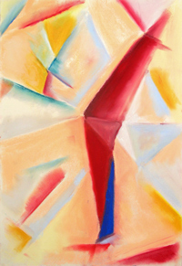 pastel color cubism, cubism abstraction, abstract still life pastel painting pas121, 2003 | Kazuya Akimoto Art Museum