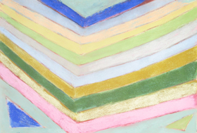 abstract geometric raw art, art brut,  pastel pale color pattern, naive stripe pattern, reflection parallel line patterns, geometric pattern pastel painting pas137, 2003 | Kazuya Akimoto Art Museum