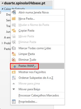 IMAP Sincronização de Pastas IMAP