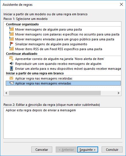 Outlook Aplicar Regra nas mensagens enviadas
