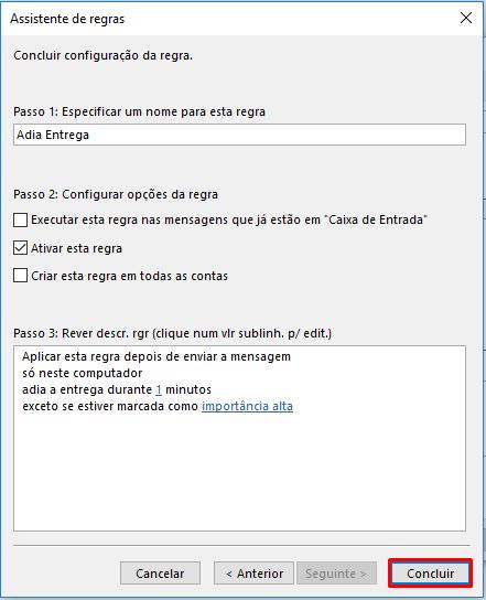 Outlook Configurar opções da regra