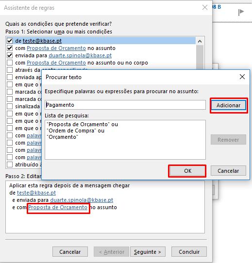 Outlook Criar regra especificar assunto