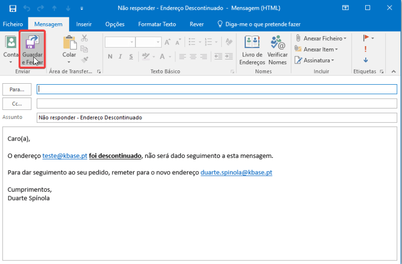 Outlook regra mensagem a enviar