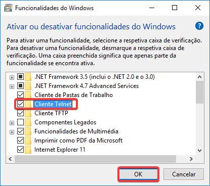 ativar ou desativar funcionalidades do windows cliente telnet