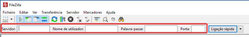 filezilla campo para preenchimento do servidor, utilizador, palavra-passe e Porta