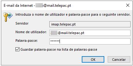 Email imap telepac utilizador password