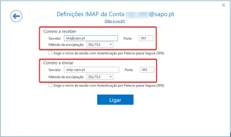 Outlook2016 email sapo definições imap