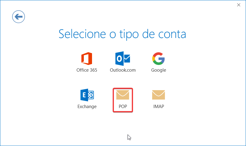 Outlook2016 email sapo pop tipo conta