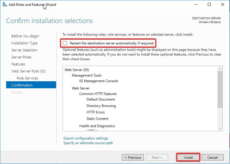 Windows Server IIS - Instalar IIS 10 - Confirm instalation