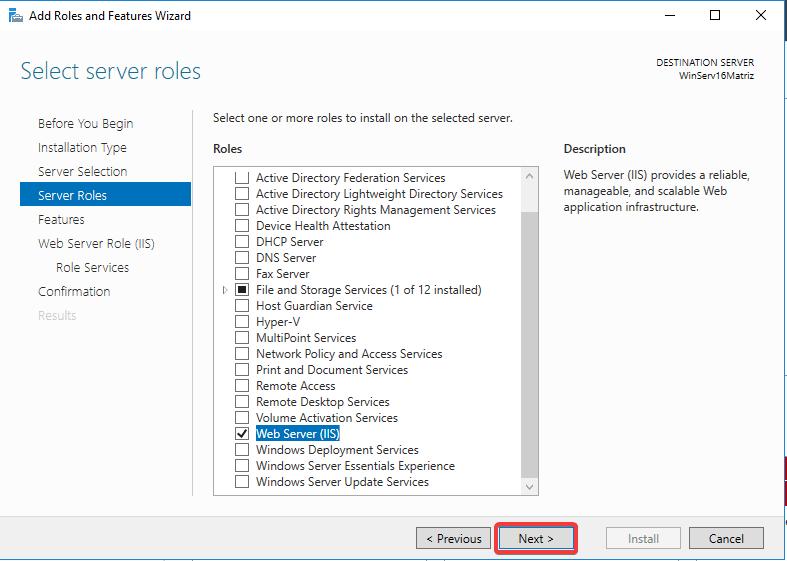 Windows Server IIS - Instalar IIS 10 - Webserver