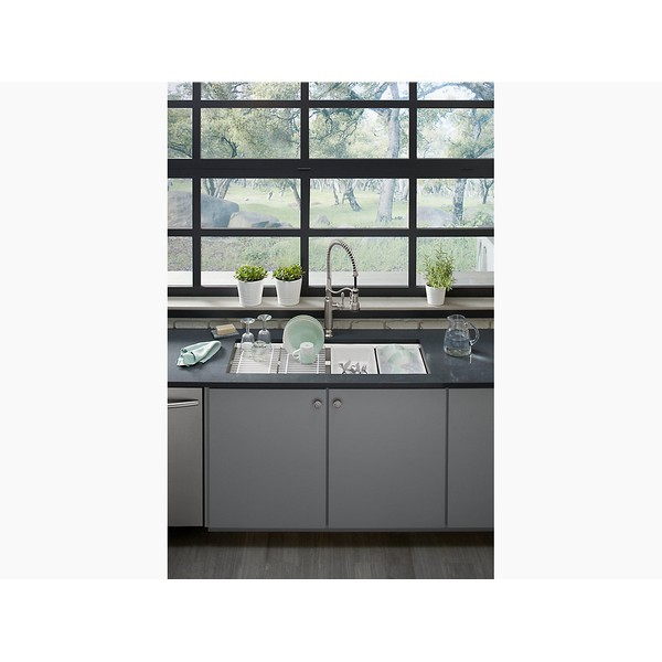 kohler k 23652 na prolific 44 inch undermount single bowl stainless steel kitchen sink with accessories included