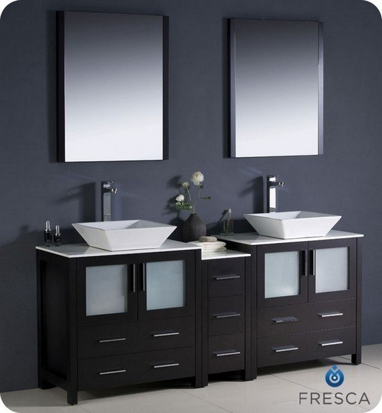 fresca fvn62 301230es vsl torino 72 inch espresso modern double sink bathroom vanity w side cabinet vessel sinks fvn62 301230esvsl