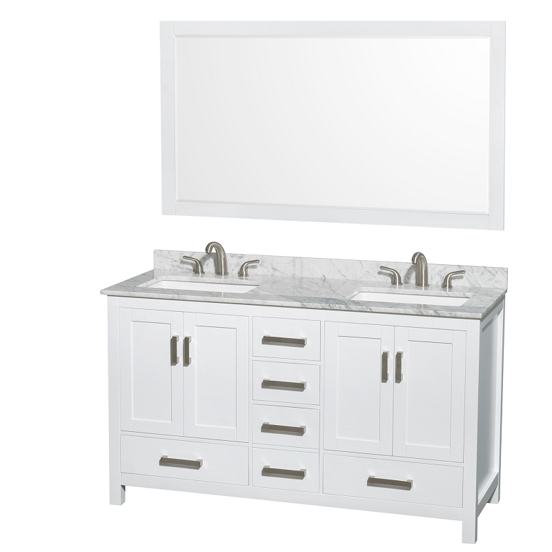 wyndham collection wcs141460dwhcmus3m58 sheffield 60 inch double bathroom vanity set in white with sinks and 58 inch mirror