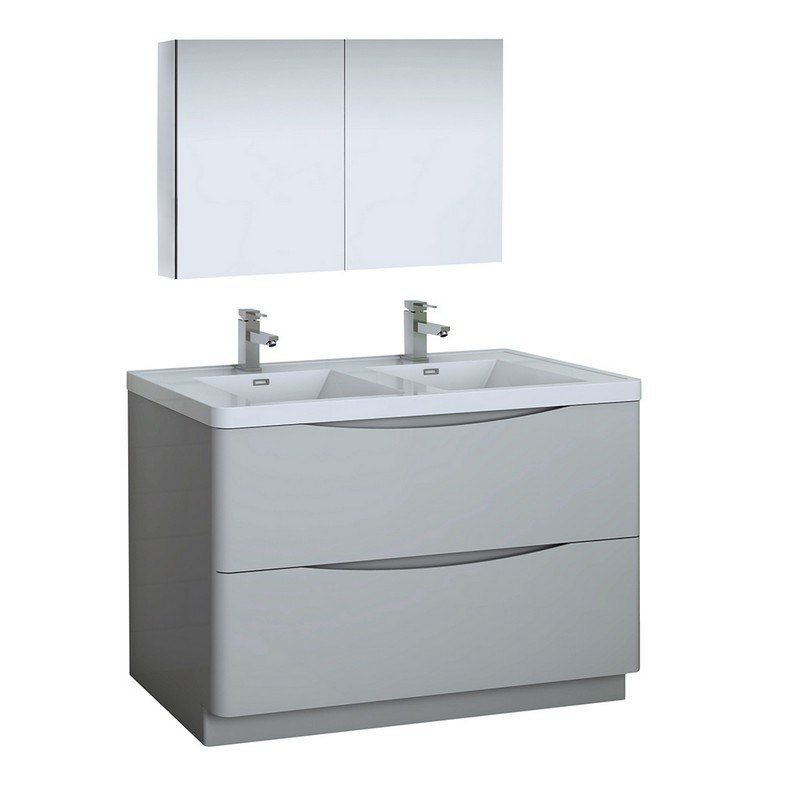 fresca fvn9148grg d tuscany 48 inch glossy gray free standing double sink modern bathroom vanity with medicine cabinet