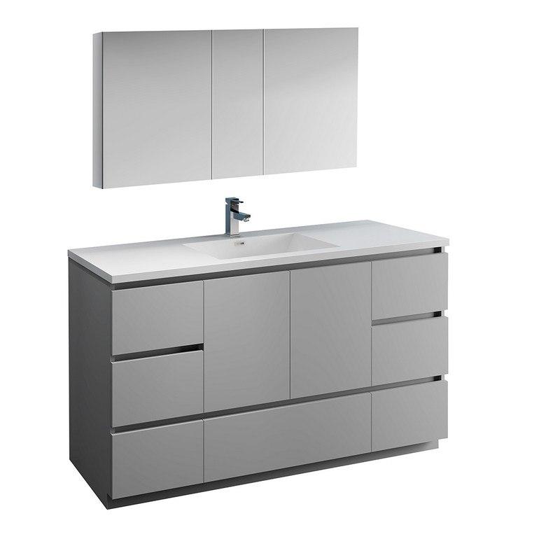 fresca fvn9360gr s lazzaro 60 inch gray free standing single sink modern bathroom vanity with medicine cabinet