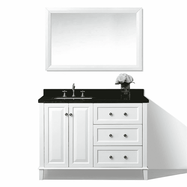 ancerre designs vtsm hannah 48 l w b hannah 48 inch off centered left basin vanity in white with black granite vanity top