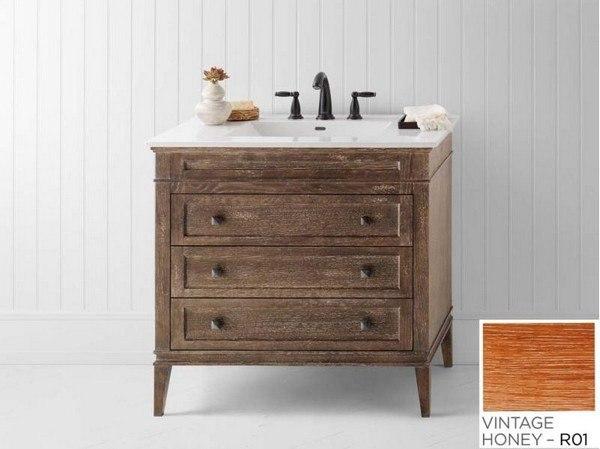 ronbow 059436 r01 laurel 36 inch bathroom vanity cabinet base in vintage honey