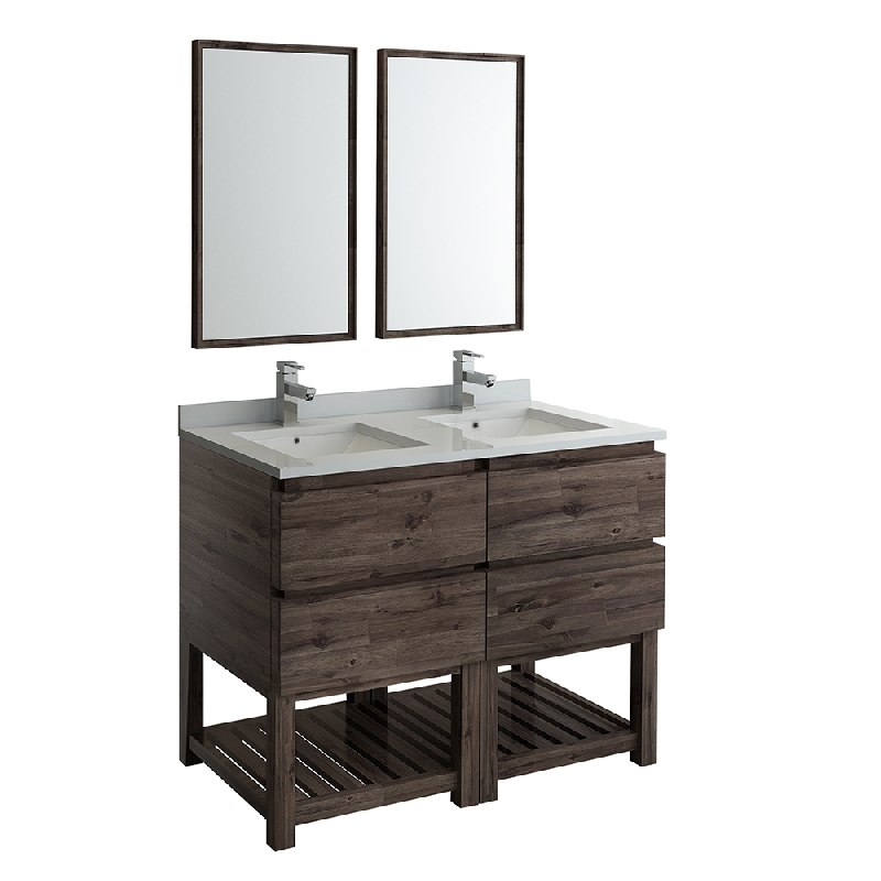 fresca fvn31 2424aca fs formosa 48 inch floor standing double sink modern bathroom vanity with open bottom and mirrors in acacia wood finish