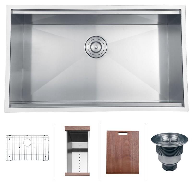 ruvati rvh8300 roma 32 x 19 inch workstation ledge undermount 16 gauge stainless steel single bowl kitchen sink
