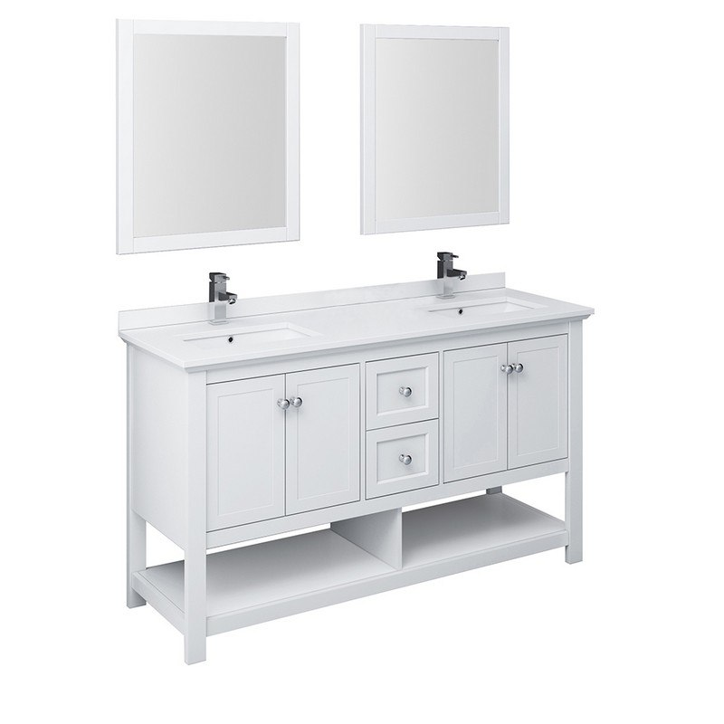 fresca fvn2360wh d manchester 60 inch white traditional double sink bathroom vanity with mirrors