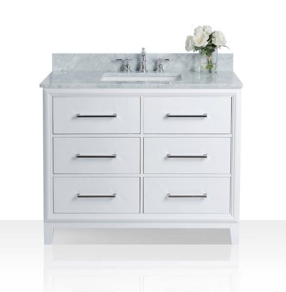 ancerre designs vts ellie 42 w cw ellie 42 inch bath vanity set in white with italian cararra white marble vanity top and white undermount basin no