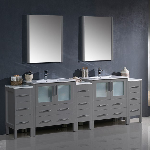 fresca fvn62 96gr uns torino 96 inch gray modern double sink bathroom vanity w 3 side cabinets and integrated sinks