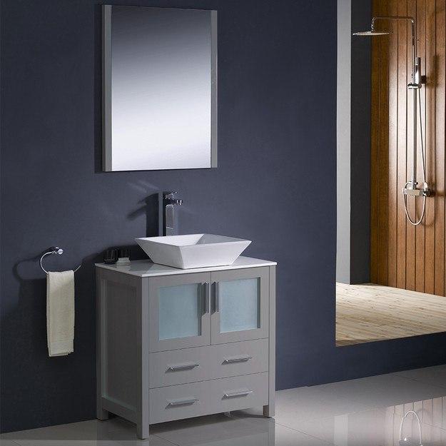 fresca fvn6230gr vsl torino 30 inch gray modern bathroom vanity w vessel sink