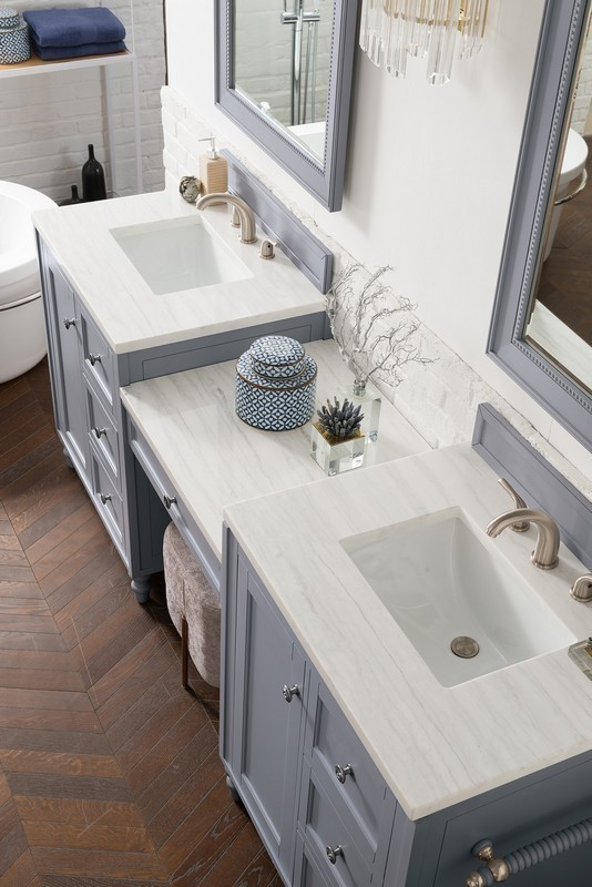 james martin 301 v86 sl du 3af copper cove encore 90 inch double vanity set in silver gray with makeup table with 3 cm arctic fall solid surface top