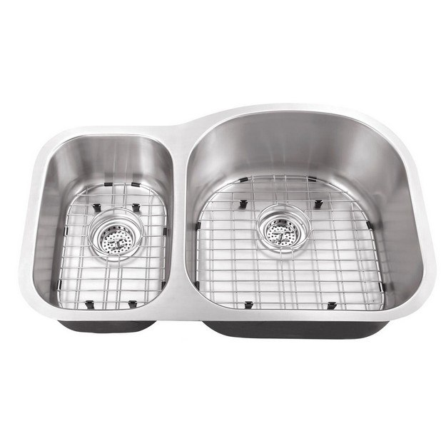 cahaba ca122532 31 1 2 inch 18 gauge stainless steel double bowl 30 70 kitchen sink with grid set and drain assemblies