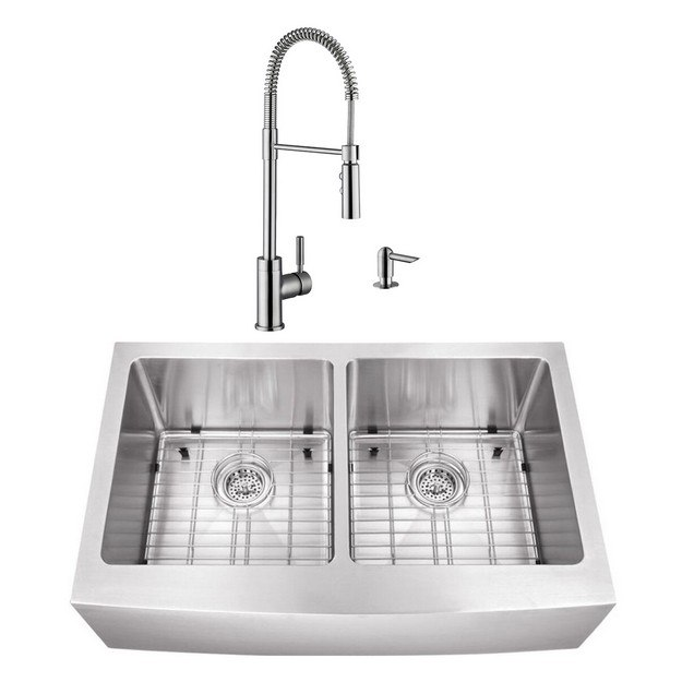 cahaba casc0103 33 inch 16 gauge stainless steel apron front farmhouse 50 50 kitchen sink with pull down industrial style kitchen faucet and soap