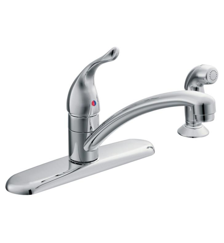moen 67430 chateau single handle deck mounted kitchen faucet with side spray