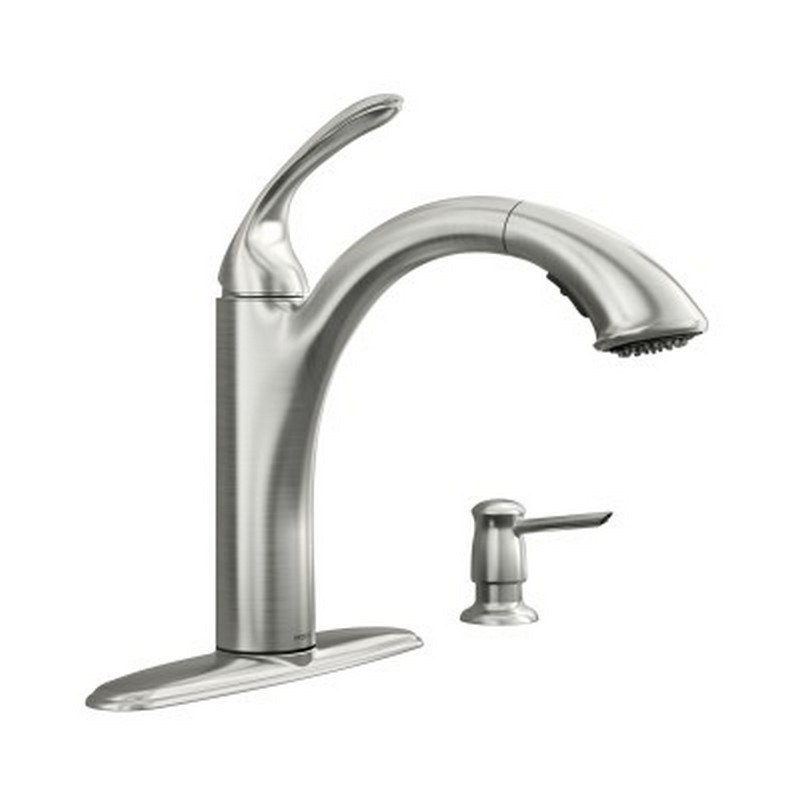 moen 87035srs kinzel one handle low arc pullout kitchen faucet in spot resist stainless