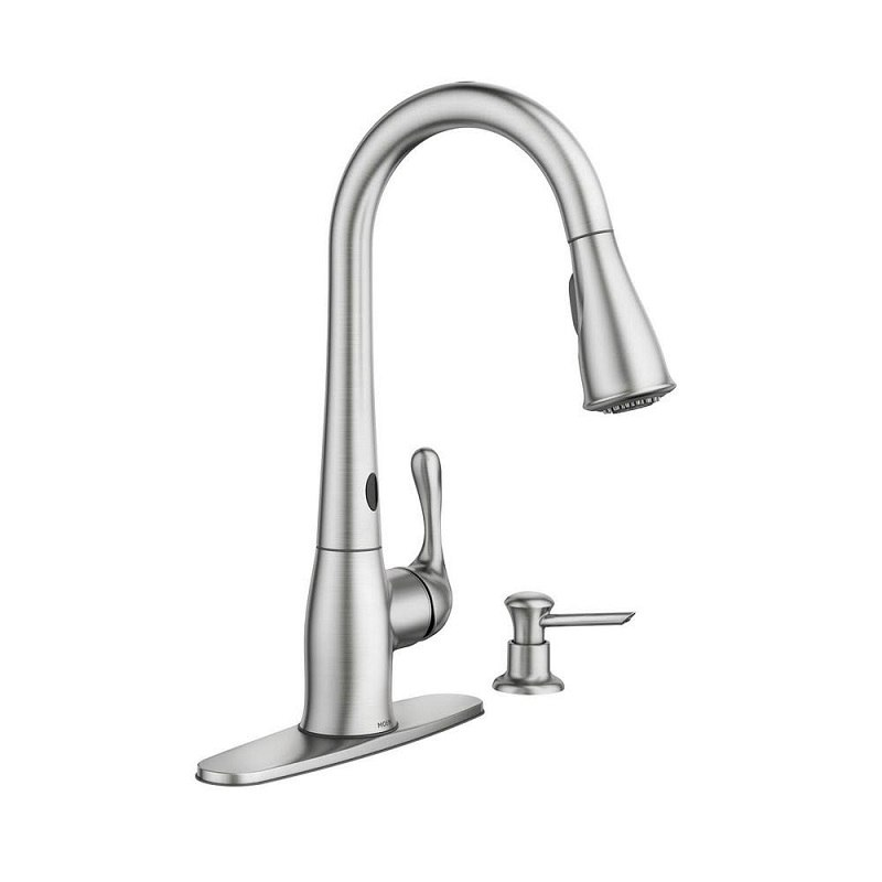 moen 87340esrs ridgedale spot resist stainless one handle high arc motion sense pulldown kitchen faucet