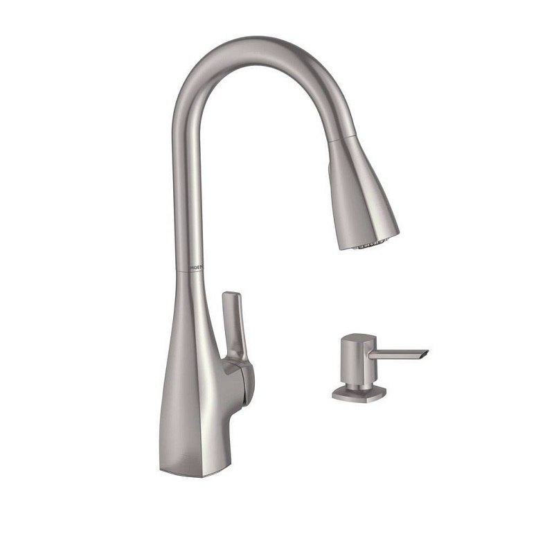 moen 87599srs kiran single handle high arc pull down kitchen faucet in spot resist stainless